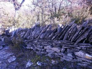 Muros que flanquean el camino, hechos con losas de piedra