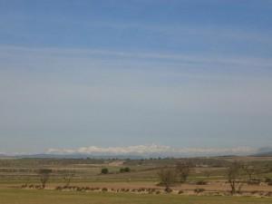 Camino de Azanuy. Una vista del Pirineo