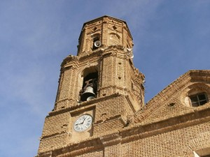 Azanuy. Torre del campanario de la iglesia parroquial de la Asunción