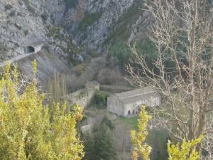 Ballabriga. Vista del Monasterio de Obarra