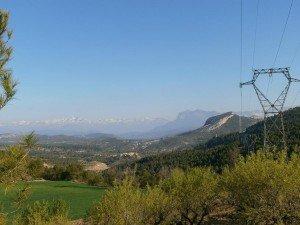 Monte Perdido; Peña Montañesa; Samitier; Escanilla y el castillo de Escanilla en primer término