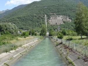 Biescas. Canal de desagüe central hidroeléctrica