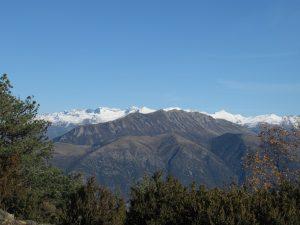 Sierra de Baciero y los Pirineos nevados al fondo