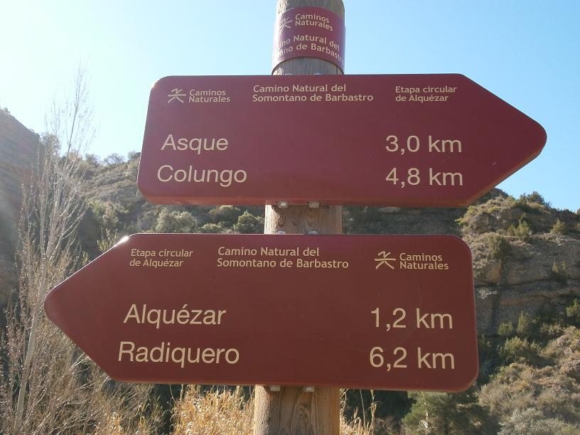 Ruta entre Alquézar y Colungo